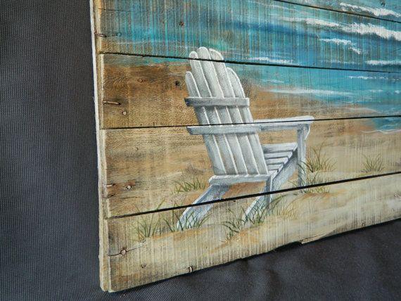 LARGE Handpainted Beach Scene Seascape by TheWhiteBirchStudio