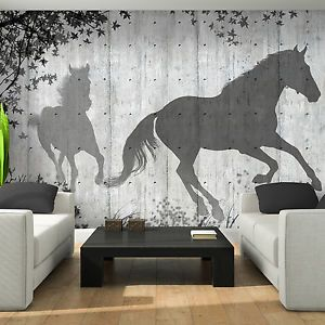 Bild Poster Wandbild Fototapete Holz Bretter Pferd Tier Wand Schatten 3FX3150P4 | eBay