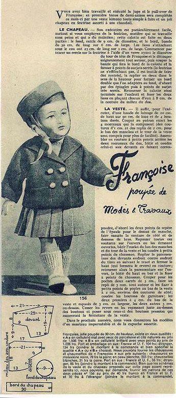 PAR AMOUR DES POUPEES :: M&T 1951-09- Veste et chapeau pour Françoise (couture)