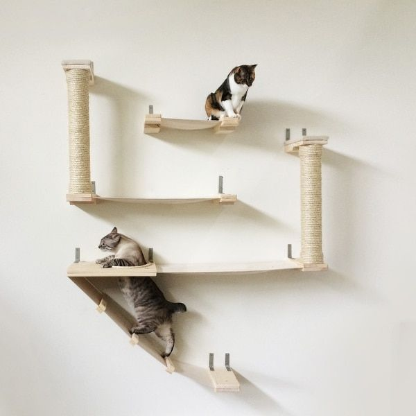 The Roman Cat Fort - Handcrafted Sisal, Canvas and Wood cat tree wall-mounted shelving