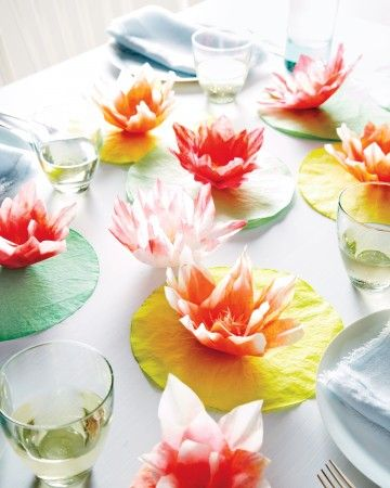 Worth Planning For: Coffee-filter lilies add just enough Palm Beach panache.The Quick Hit: A deconstructed centerpiece pulls the whole table together.