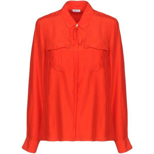 P.a.r.o.s.h. Shirt (£126) ❤ liked on Polyvore featuring tops, red, extra long sleeve shirts, red long sleeve top, red top, red shirt and long sleeve tops