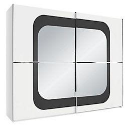 Tolóajtós Szekrény Lumos - fekete/fehér, üveg (270/223/69cm)