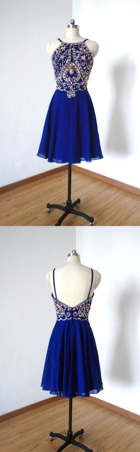 royal blue homecoming dress, sexy back prom dress, rhinestonesliques homecoming dress, short homecoming dress, spaghetti straps homecoming dress, beaded prom dress, prom dress undre 100