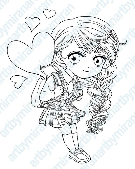 Digital Stamp-School Girl, Digi Stamp, Coloring page