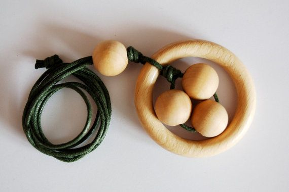 Natural chunky wooden beads and round teether by LovelyCraftsHome