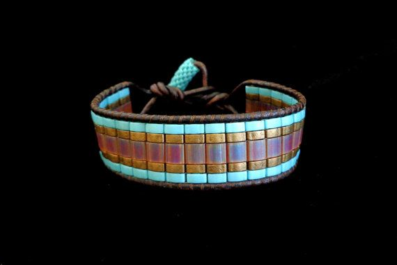 Brown Leather Single Wrap Bracelet with Frosted by beadbound on Etsy