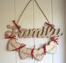 Personalised Family Plaque Wooden Hearts Add names Beautiful Gift