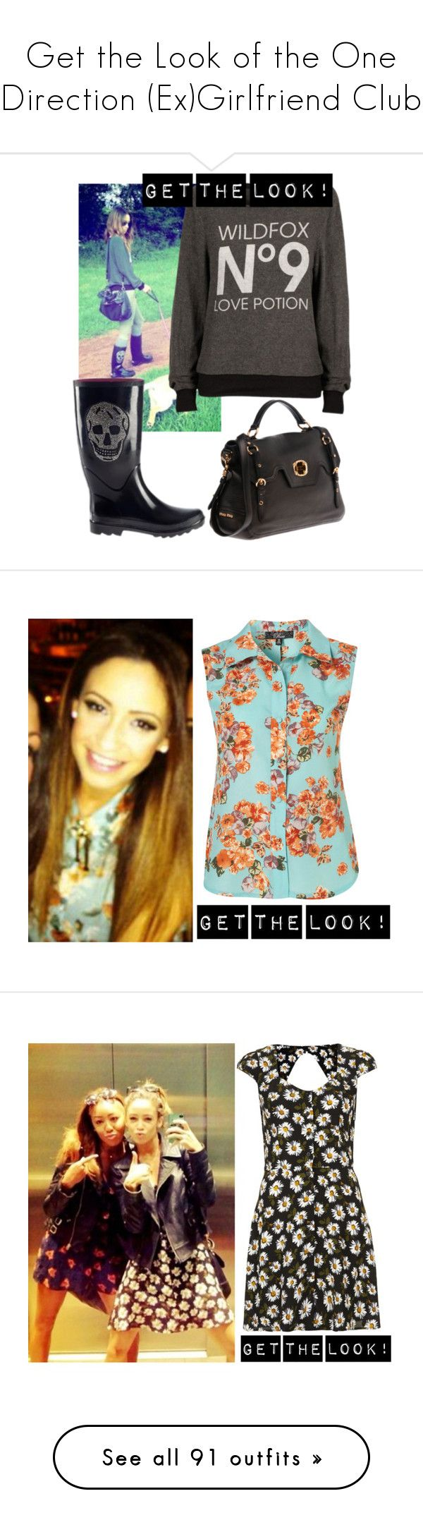 """""""Get the Look of the One Direction (Ex)Girlfriend Club"""" by lalican ❤ liked on Polyvore featuring Wildfox, Miu Miu, daniellepeazer, Calder, Topshop, Ray-Ban, Miss Selfridge, Jeffrey Campbell, Zara and Office"""