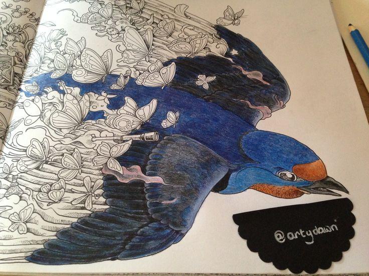 Bird done WIP faber castell pencils Imagimorphia colouring book