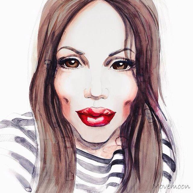 Погода, конечно, шепчет, но я все-таки доделала портрет :) @samoylovaoxana Всем отличных выходных! #иллюстрация #акварель #illustration #watercolor #fashionillustration #movemoon #canson #winsornewton