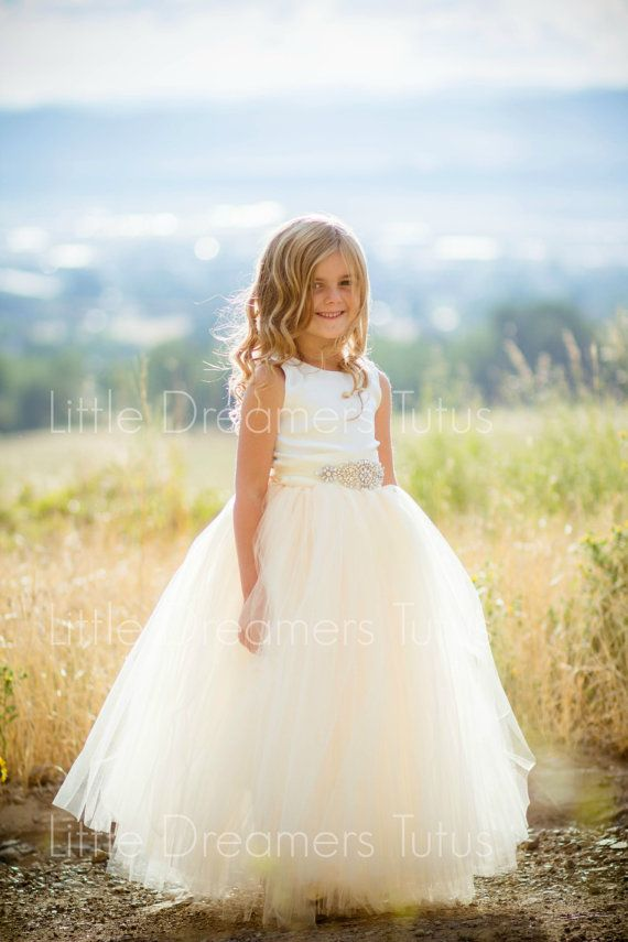 NEW! The Juliet Dress in Ivory Champagne with Rhinestone Sash – Flower Girl Dress | Little Dreamers
