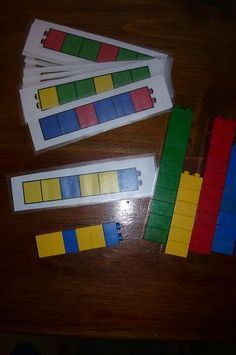 duplo pattern. Children use a pattern template on paper and create the same pattern using Lego or unifix cubes.