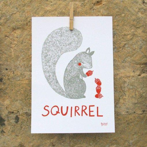 Eichhörnchen Druck fürs Kinderzimmer von Sarah Papworth, Quelle: http://folksy.com/items/4120854-Animal-print-squirrel-illustration-nursery-and-children-s-room-wall-art