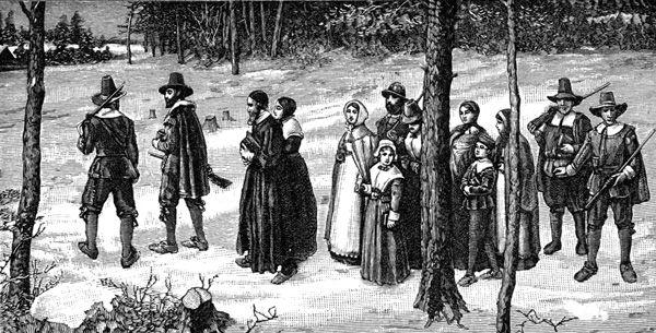 Pilgrims going to church.