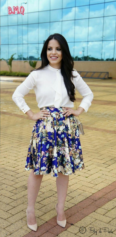 Look de Hoje: Saia Midi e Camisa | Blog da Paola