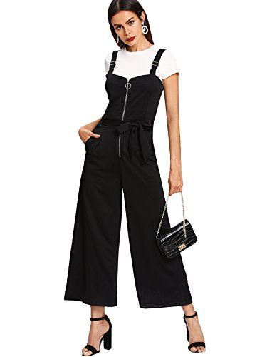 2917245fe6dd Romwe Women s Sexy Sleeveless Adjustable Strap Zip Romper Tank Jumpsuit  with Pocket