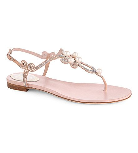 RENE CAOVILLA Solar Pearl and Swarovski leather sandals (Pale pink