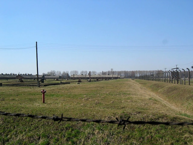 Auschwitz-Birkenau, view over the camp terrain from outside the fence.