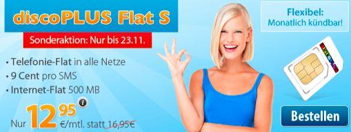 DiscoPlus Flat S - Allnet-Flat + 500MB Internet für 12,95€ / Monat ohne Mindestvertragslaufzeit - myDealZ.de