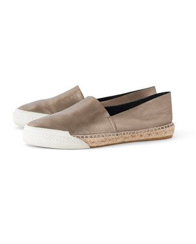 Poetry - Metallic espadrilles - Glammy, go-with-everything pewter leather espadrilles with the classic rope sole but updated with a rubber skate-shoe trim at the front.