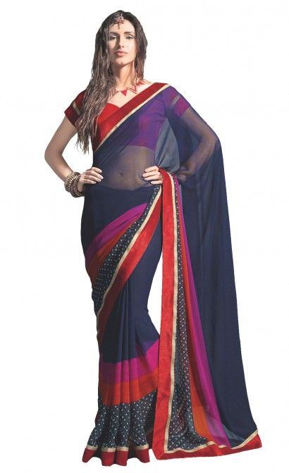 Work- Printed and Lace border Fabric-Saree- Georgette Blouse-Georgette.