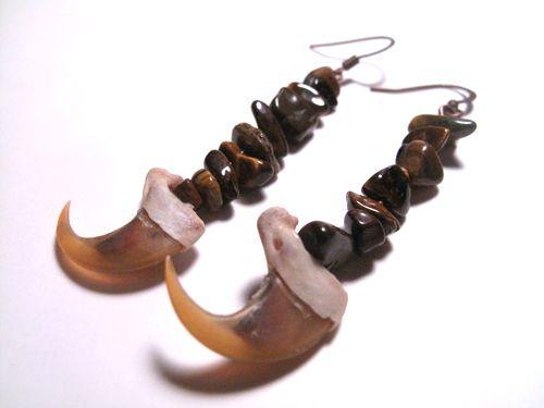 Bone Earrings - Bobcat Claws with Brown Stones  Real Bone Jewelry Women's Claw Earrings