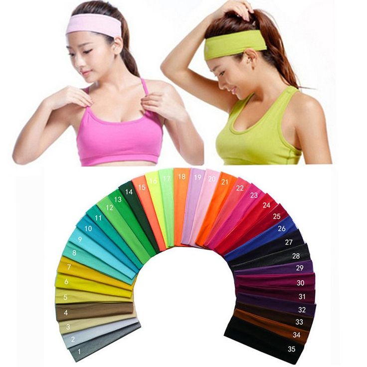 2 inch Solid Cotton Headband Sports Softball Sweatband Hair Band Bandage On Head Turban Bandana Elastic