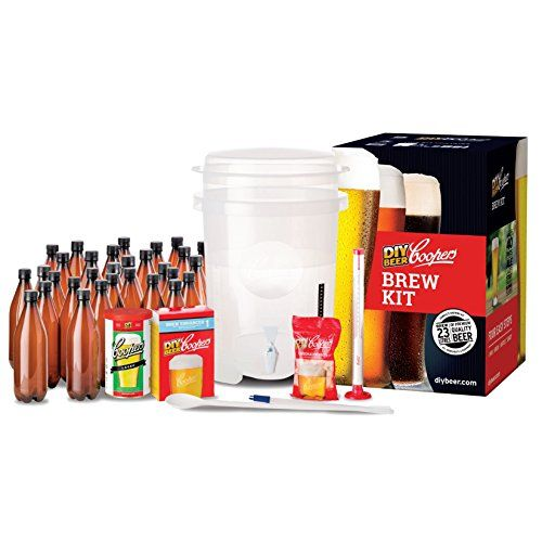 Coopers DIY Home Brewing 6 Gallon Craft Beer Making Kit... Includes a 6 Gallon reusable, easy to use patented fermenter, Comes with 30 reusable 740ml plastic PET O2 Barrier bottles with caps, This kit includes Coopers Lager Refill Pack, All the equipment in your Coopers DIY Beer Kit is completely reusable, all you need is another refill to brew your next batch. This Kit also includes Coopers Beer Hydrometer,