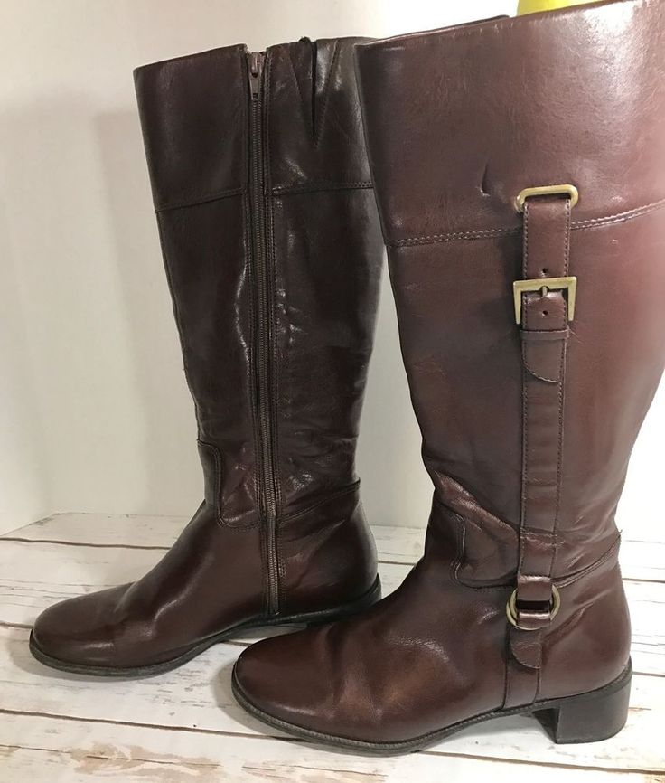 NATURALIZER Leather Comfort Women Boots Sz. 8.5 Brown Buckles  | eBay