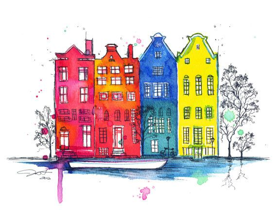 "Whimsical original pen and watercolor illustration of Amsterdam, 9""x12"" on 140lb strathmore watercolor paper."