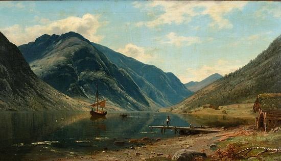 Amaldus Clarin Nielsen (1838-1932): Fjordlandskap med folkeliv, 1883
