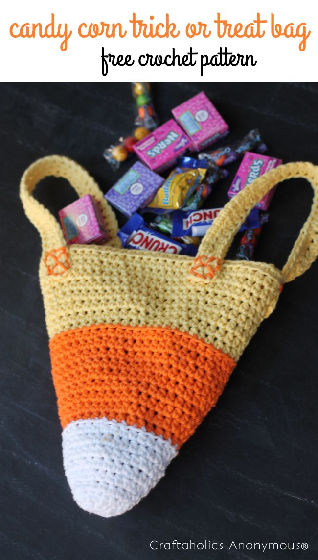 Candy Corn Crochet Trick or Treat Bag. Free crochet pattern for a Halloween candy bag!