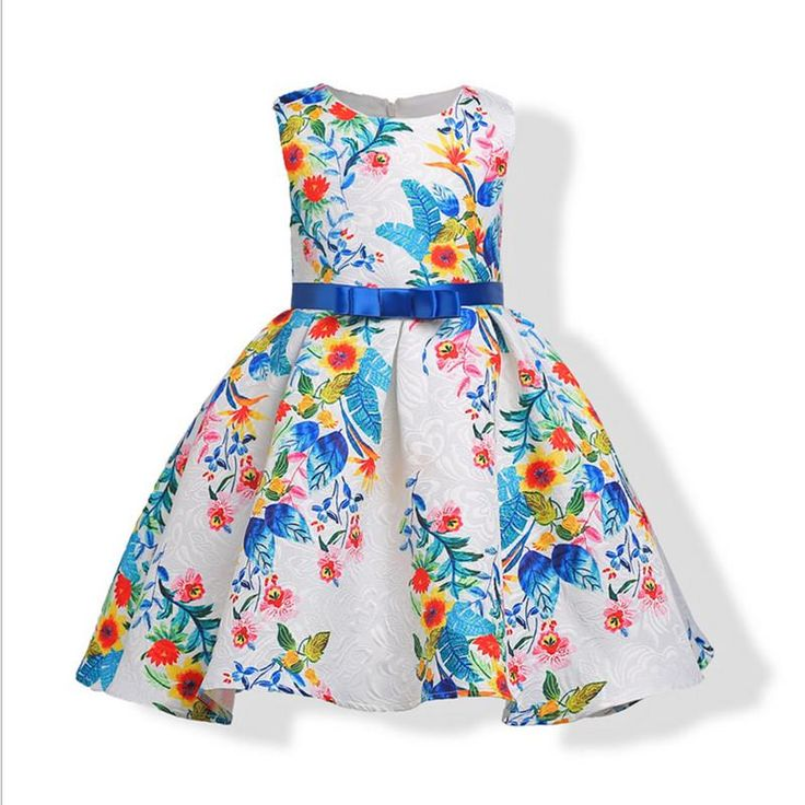 Girl's Floral Dress with Bow