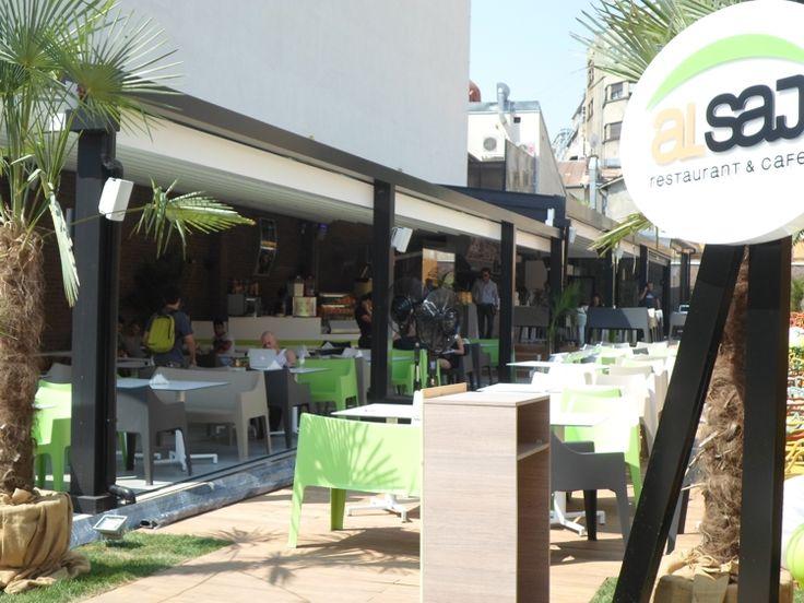 Pergole Med 85, pergole retractabile Gibus pentru terasa restaurant libanez Al Saj. Locatie Centrul Vechi, Bucuresti, Romania