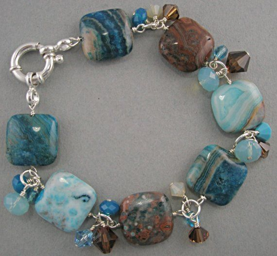 Turquoise and Brown Crazy Agate Bracelet with by Stoneberri, $52.00-love the balance of lg stones with crystals between