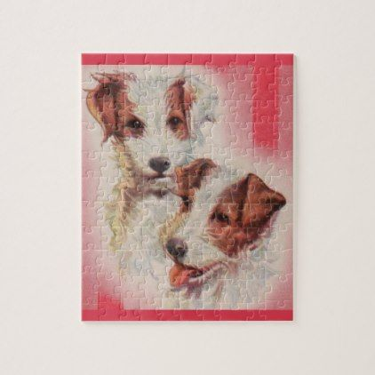 #CUTE Jack Russell terriers illustration Jigsaw Puzzle - #cute #gifts #cool #giftideas #custom