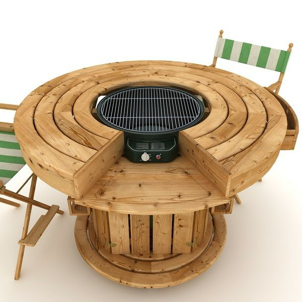 Moderne Gartengestaltung mit einem Tisch Gasgrill!