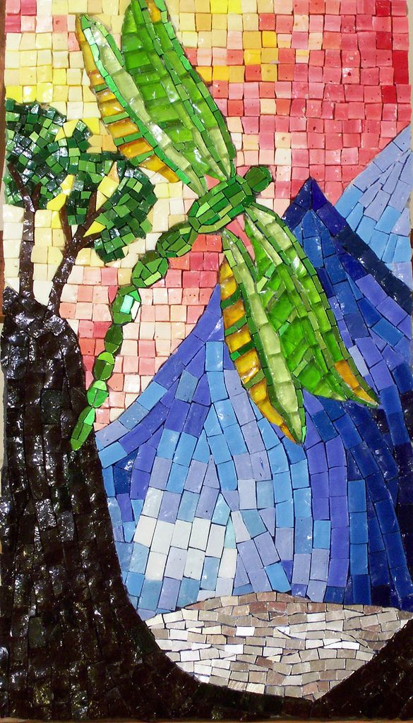 Dream of the Dragonfly Glass mosaic art, Mosaic animals