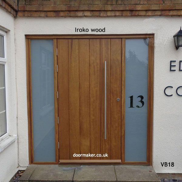 contemporary iroko door and sidelights