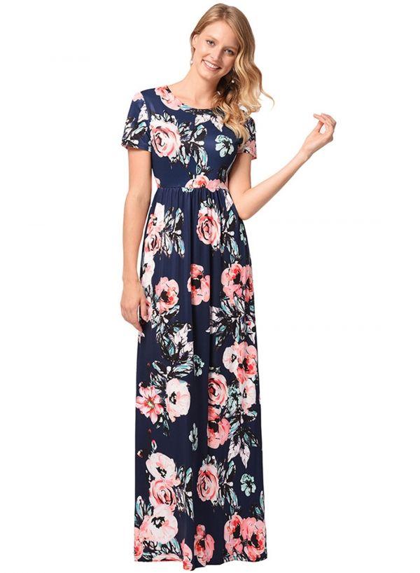 b73aa1da60 Women's Short Sleeve High Slit Solid Maxi Dress with Belt - ROAWE ...