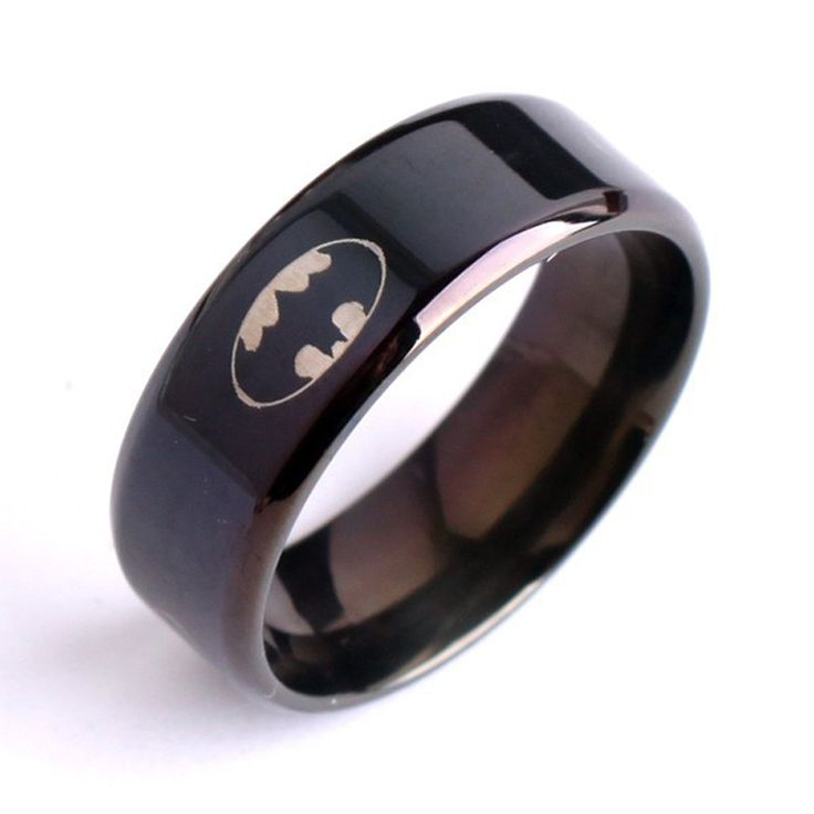Simple Cool Men Black 8mm 8g Batman Logo Stainless Steel Male Finger Ring Party Fashion Jewelry Ring USA 6-14
