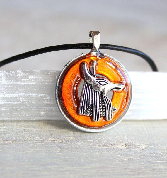 orange Anubis necklace Anubis jewelry Anpu necklace