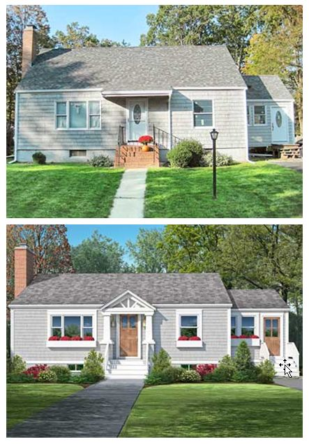201 best ugly house makeovers images on pinterest before for Cape cod house remodel