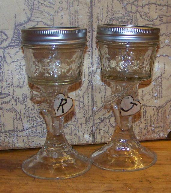 Best 25 mason jar wine glass ideas on pinterest etched mason jars diy projects glass jars - Mason jar goblets ...