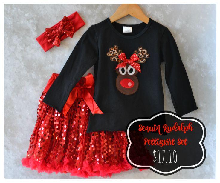 Sequin Rudolph Pettiskirt Set:  Preorder now for 71% off retail through 10/28/15!