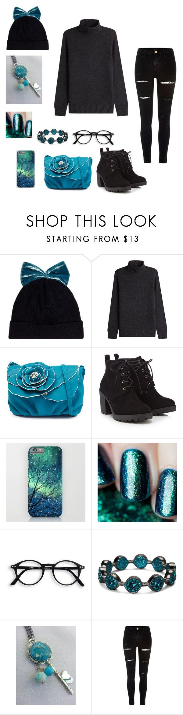 """""""Black and Teal"""" by alexthenerd ❤ liked on Polyvore featuring Federica Moretti, Vince, Red Herring, Gaia, SAACHI Style, River Island and black"""