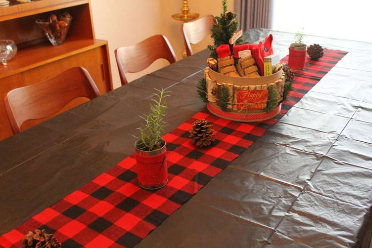 Plaid Flannel Table Runner, Fir Trees and Lumberjack Decor  Luke's Mountain Man Lumberjack First Birthday, featured by Eclipse Event Co. on Catch My Party! http://www.eclipseeventco.com/#!Lukes-Lumberjack-Mountain-Man-1st-Birthday-Party/c1b0f/561165740cf2a7bb74c646ba