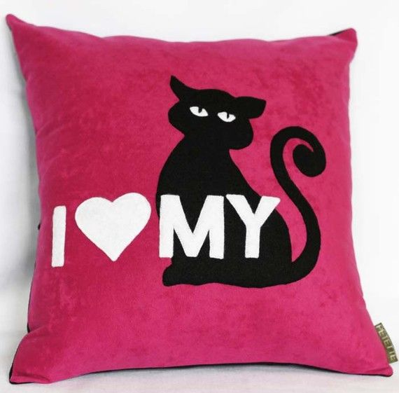 I Love My Cat Hot Pink Decorative Pillow Great For Cat By Petette, $29.00