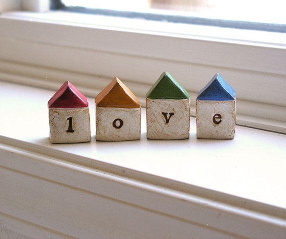 Birthday gift  ... LOVE...Four handmade polymer clay houses ... Word Houses ... little neighborhood